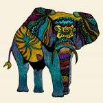 Poster Print 8x10 - Elephant of Namibia Tribal Illustration - For Your Home Decor