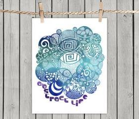 Turquoise Abstract Life - Poster Print 8x10 - of Fine Art illustration for Your Wall Decor