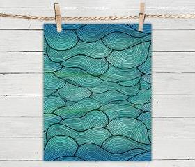 Poster Print 8x10 - Sea Waves Pattern - For Your Home Decor