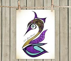 Poster Print 8x10 - Purple Swan Live Your Dreams Quote - of Fine Art Illustration for Your Wall Decor