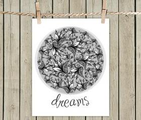 Poster Print 8x10 - Dreams Illustration - For Your Wall Decor