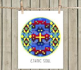 Multicolor Ethnic Soul - Poster Print 8x10 - of Fine Art Painting for Your Wall Decor