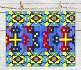 Inca Multicolor Pattern - Poster Print 8x10 - of Fine Art Painting for Your Wall Decor