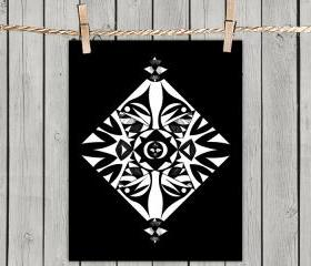 Ethnic Symmetry Black - Poster Print 8x10 - of Fine Art Illustration for Your Wall Decor