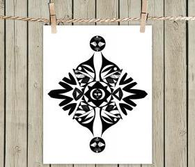 Ethnic Symmetry White - Poster Print 8x10 - of Fine Art Illustration for Your Wall Decor