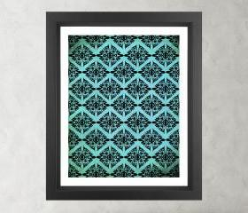 Ethnic Symmetry Turquoise Pattern- Poster Print 8x10 - of Fine Art Illustration for Your Wall Decor