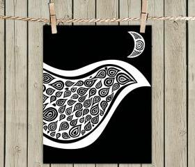 Black Bird In Disguise - Poster Print 8x10 - of Fine Art Illustration for Your Wall Decor
