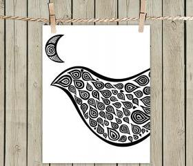 White Bird In Disguise - Poster Print 8x10 - of Fine Art Illustration for Your Wall Decor
