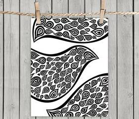 Birds In Disguise Pattern - Poster Print 8x10 - of Fine Art Illustration for Your Wall Decor