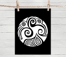 Poster Print 8x10 - Spirals In My Life Black - of Tribal Illustration for Your Wall Decor