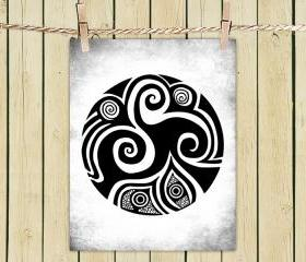 Poster Print 8x10 - Spirals In My Life White - of Tribal Illustration for Your Wall Decor