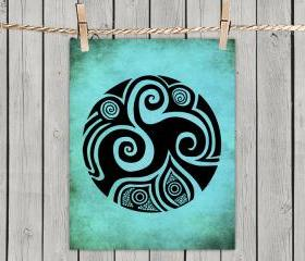 Poster Print 8x10 - Spirals In My Life Turquoise - of Tribal Illustration for Your Wall Decor