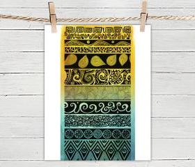 Poster Print 8x10 - Duotone Tribal Evolution - For Your Home Decor